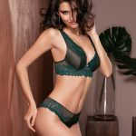 9619 Bralette coppa graduata - Coppa B/C Tg 1/5 - Colori: Nero/Verde bosco 9519 Brasiliana - Tg 1/6