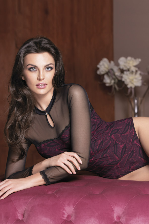 Magnific Collection - 2806 Long-sleeve body - Size S / M / L / XL - Colours: Black-nude/Black-ruby