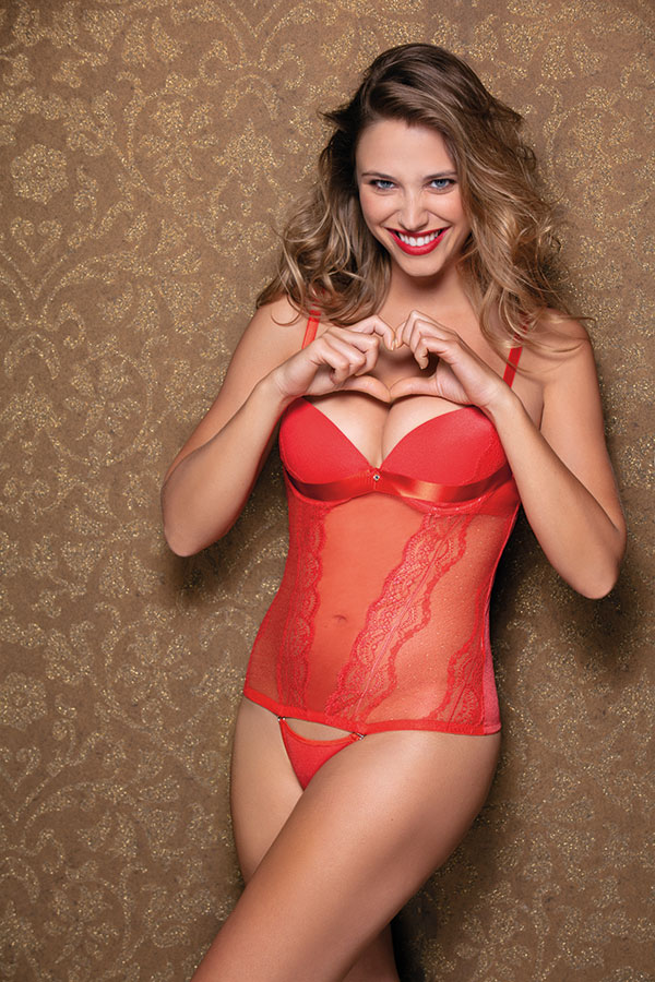 Très Jolie collection by Leilieve - 2711 Graduated cup corset Cup B/C Size 1/5 Colors: Black / Red